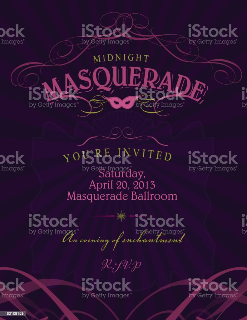 Ballroom Masquerade invitation design template with mask vector art illustration