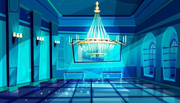 ballsaal nachthalle vektor-illustration - spiegelfliesen stock-grafiken, -clipart, -cartoons und -symbole