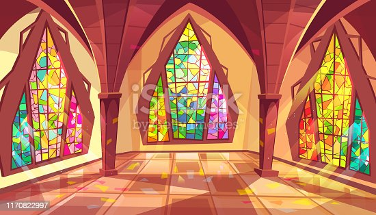 Ballroom vector illustration of royal gothic palace hall with stained glass windows and sun reflection on tiled floor. Flat cartoon ball room or king apartment and museum interior background