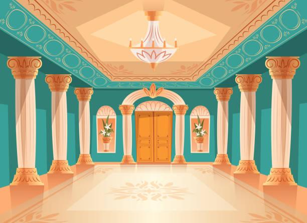 ballroom or royal palace hall vector illustration - sala balowa stock illustrations
