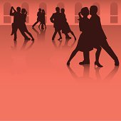 A grouping of four silhouette couples dancing the tango.