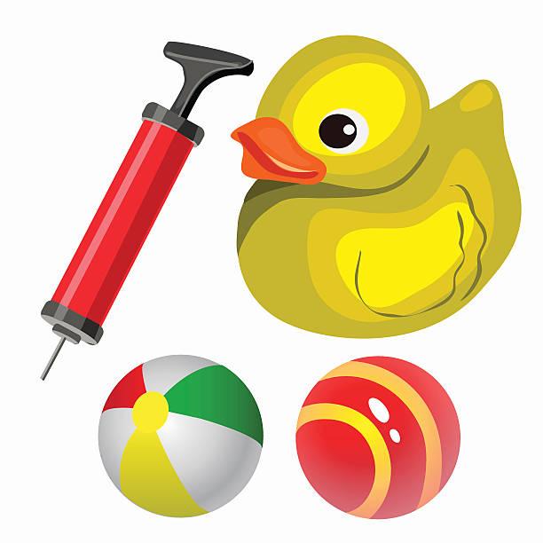 bildbanksillustrationer, clip art samt tecknat material och ikoner med balls and yellow duck. vector set in cartoon style - balpress