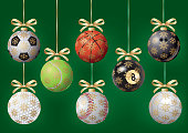 Balls for Christmas tree. Vector Graphic. EPS10 with layers (removeable) and alternate formats (hi-res jpg, pdf).