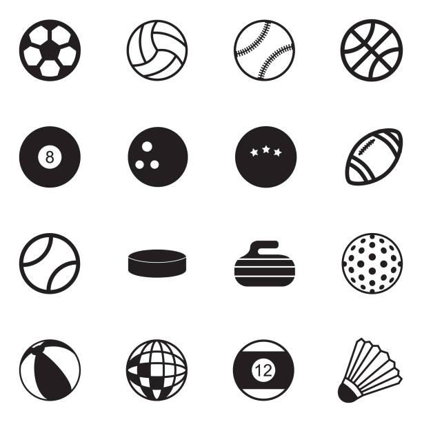 stockillustraties, clipart, cartoons en iconen met de pictogrammen van de ballen. zwart plat design. vectorillustratie. - netball