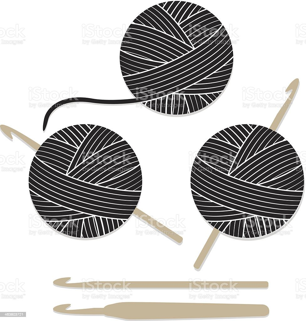 Balls Of Yarn And Crochet Hook Set Icons Stock Vector Art ...
