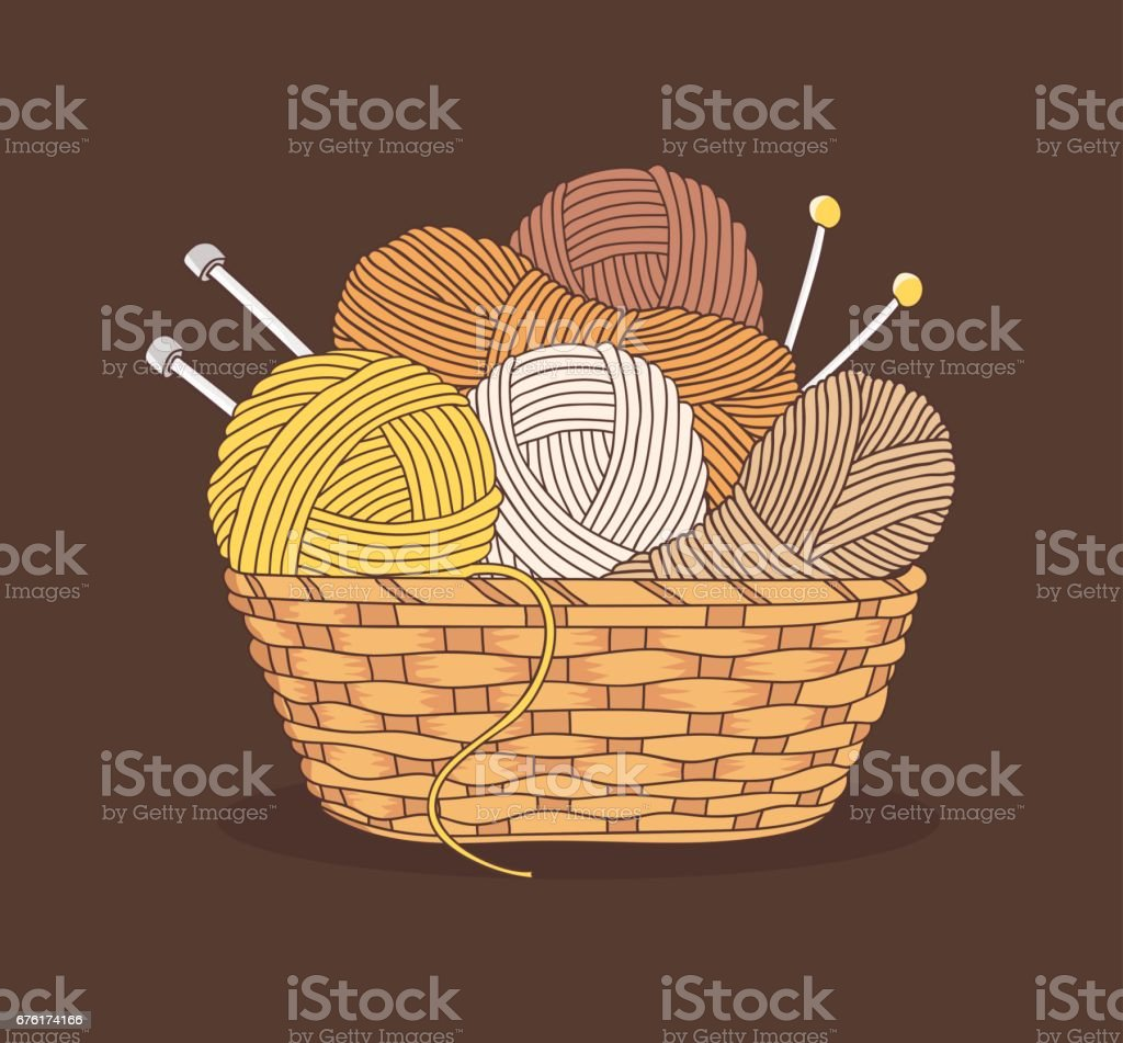 balls of yarn and knitting needles vector art illustration