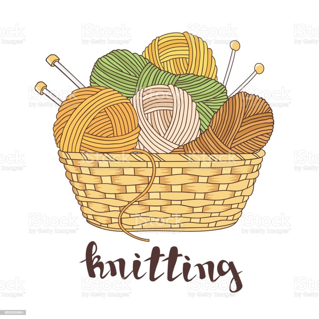 balls of yarn and knitting needles vector art illustration