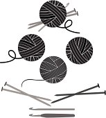 Several versions of a ball of yarn, a ball of yarn with knitting needles and crochet hook, and 2 versions of knitting needles and crochet hooks, including an ergonomic crochet hook. Icons, design elements. Grayscale.