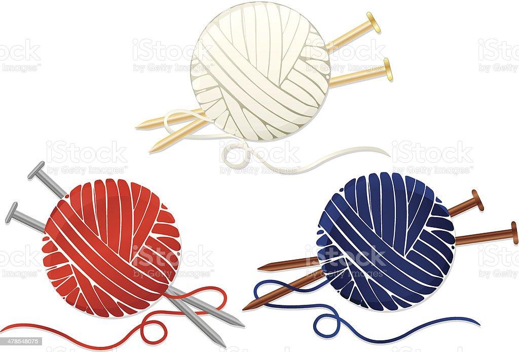 Knitting Needles And Yarn Clip Art : Balls of yarn knitting needles set icons stock vector art