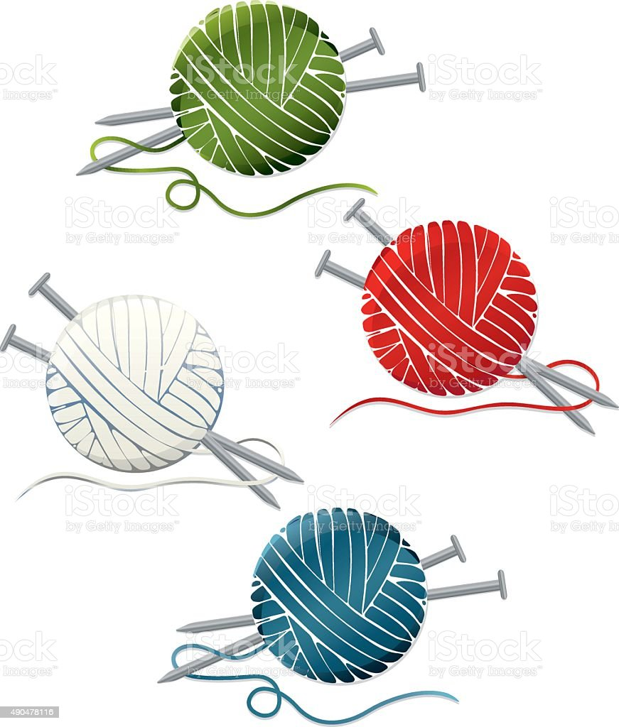 Balls of Yarn, Knitting Needles Set; Icons vector art illustration