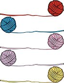 Balls of Yarn in 5 Different Colors