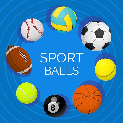 Balls. Sport equipment for tennis, volleyball, football, billiard, basketball, rugby, soccer.