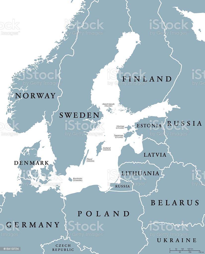 Baltic Sea Area Countries Political Map Stock Vector Art - Aland islands political map