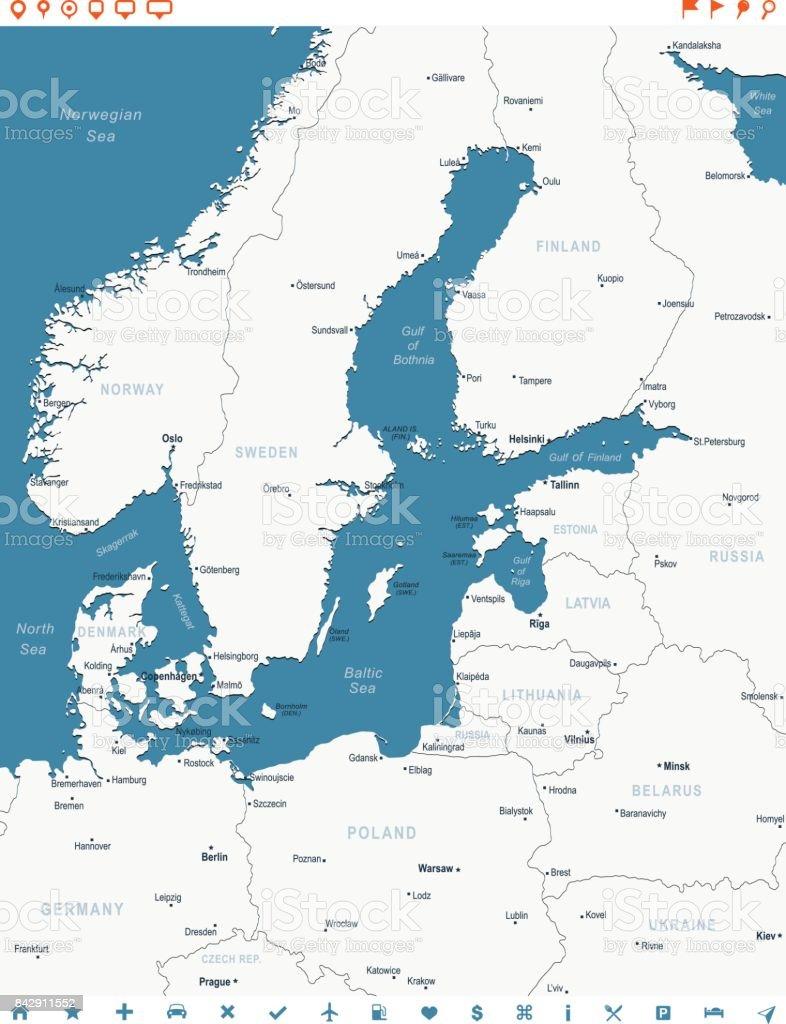 Karte Ostsee.Ostsee Karte Blauen Fleck Kurven 10 Stock Vektor Art Und Mehr Bilder