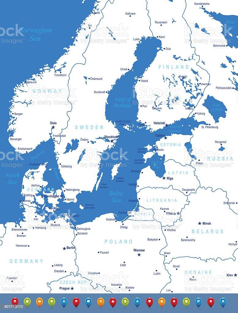 Baltic Sea Area Vector Map Stock Vector Art IStock - Estonia from the us map