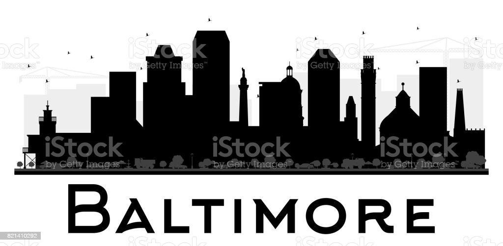 Baltimore City skyline black and white silhouette. vector art illustration