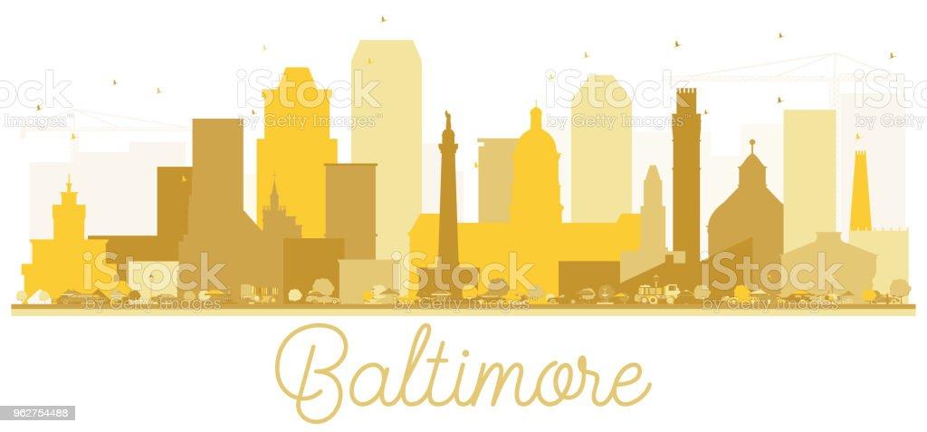 Baltimore City skyline Golden silhouette. vector art illustration