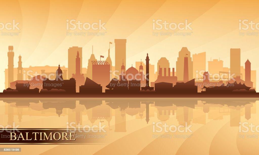 Baltimore city skyline silhouette background vector art illustration