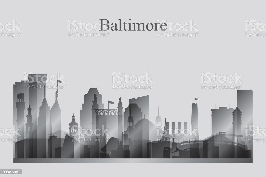 Baltimore city skyline silhouette in grayscale vector art illustration