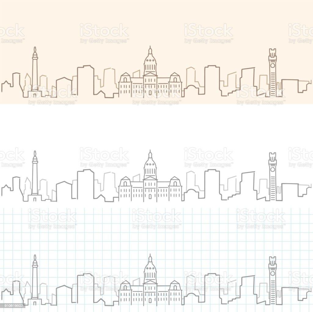 Baltimore Hand Drawn Skyline vector art illustration