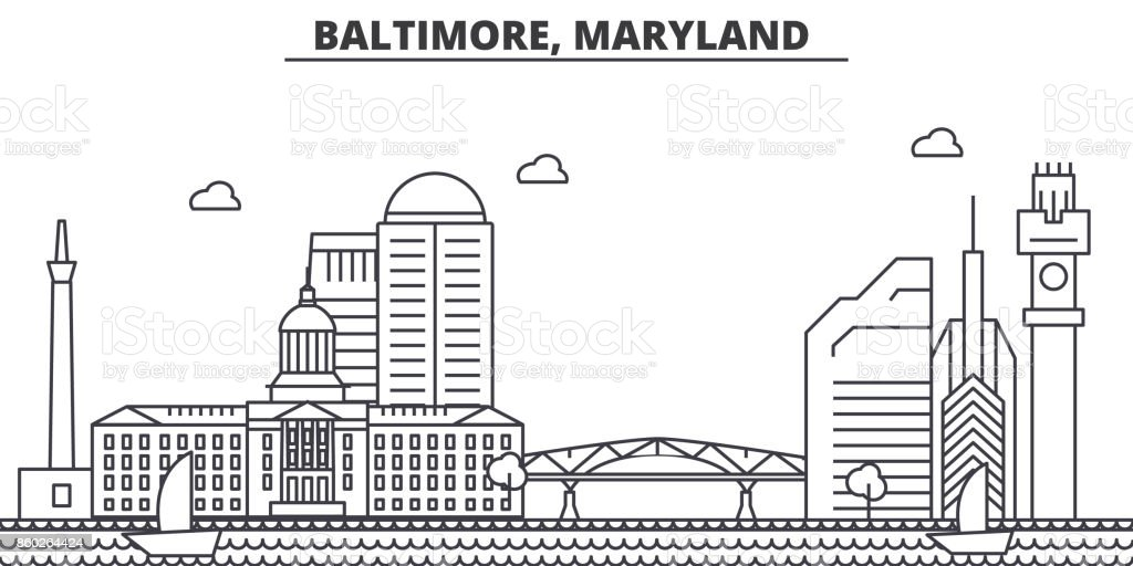 Baltimore, Maryland architecture line skyline illustration. Linear vector cityscape with famous landmarks, city sights, design icons. Landscape wtih editable strokes vector art illustration