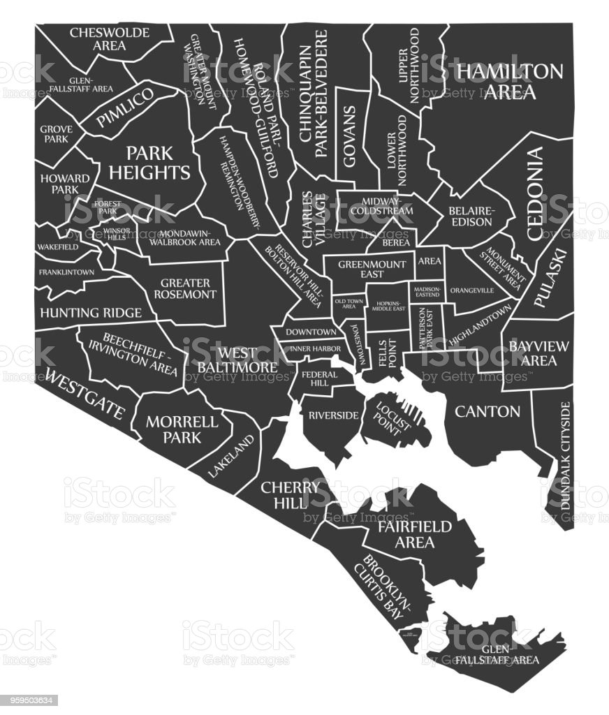 Maryland On Usa Map.Baltimore Maryland City Map Usa Labelled Black Illustration Stock