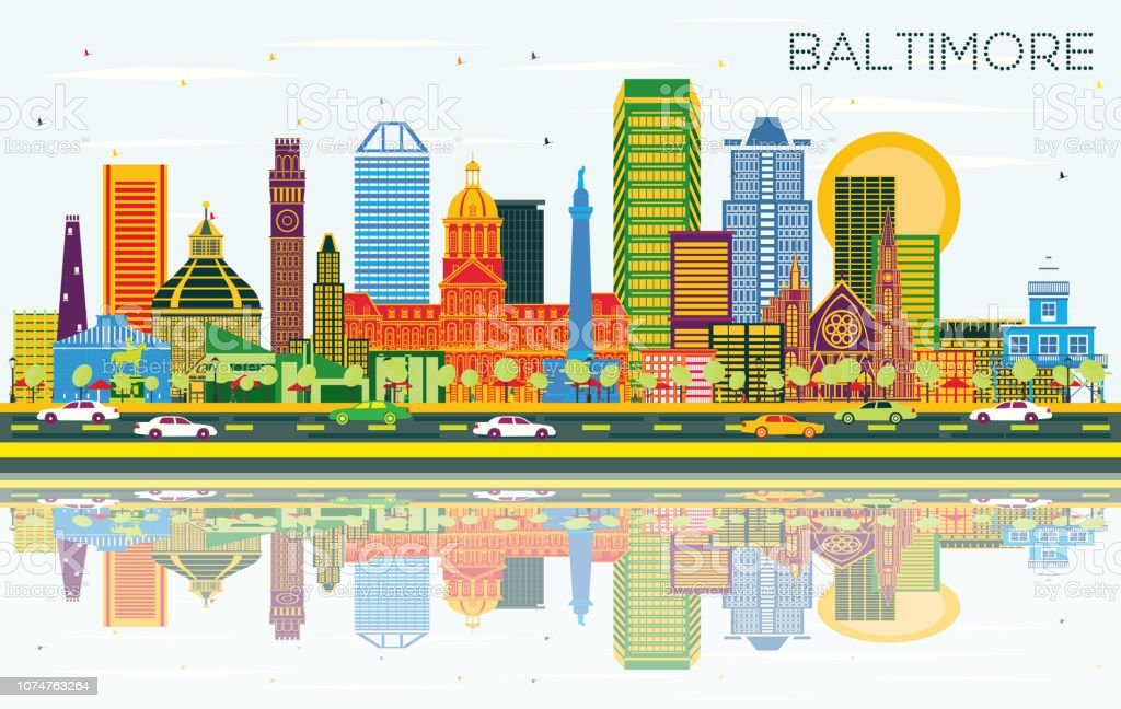 Baltimore Maryland City Skyline with Color Buildings, Blue Sky and Reflections. vector art illustration