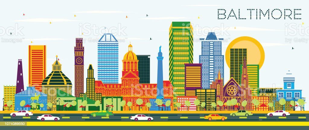 Baltimore Maryland City Skyline with Color Buildings on Blue Sky. vector art illustration
