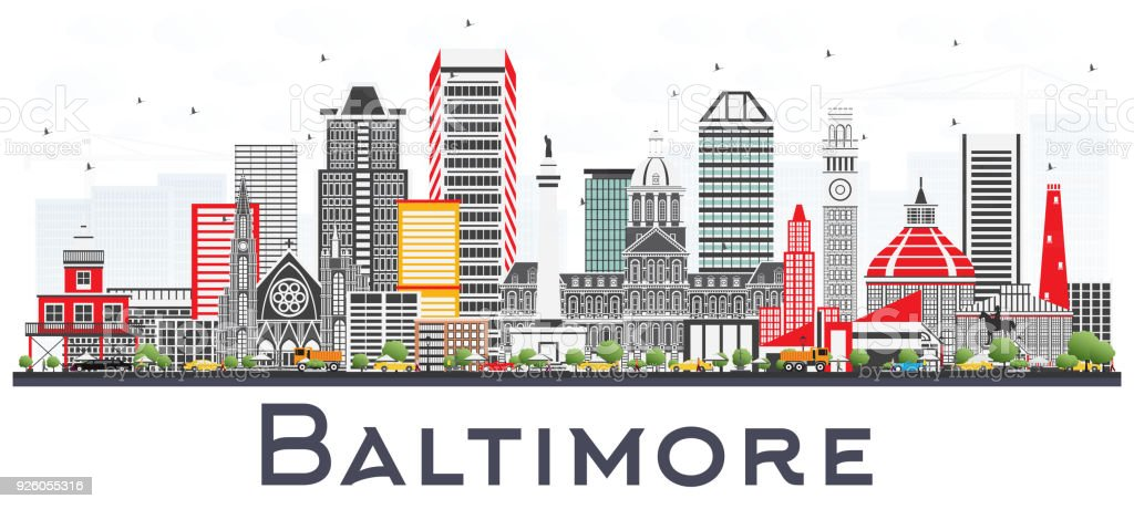 Baltimore Maryland City Skyline with Gray Buildings Isolated on White. vector art illustration