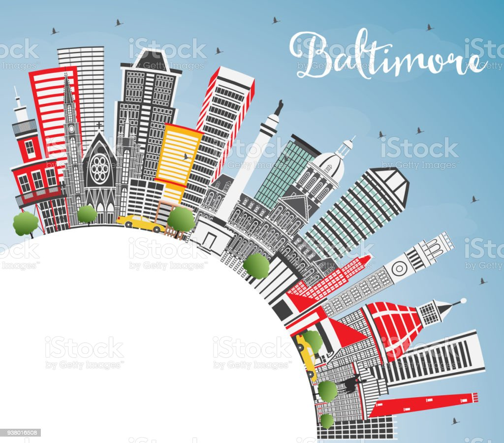 Baltimore Maryland USA City Skyline with Gray Buildings, Blue Sky and Copy Space. vector art illustration