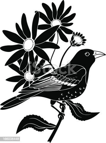 A vector illustration of a Baltimore oriole perched on a black eyed Susan flower. The Baltimore oriole is the state bird of maryland, USA and the black eyed Susan is the state flower.