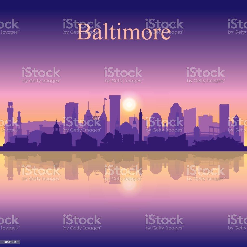 Baltimore silhouette on sunset background vector art illustration