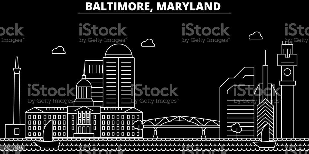 Baltimore silhouette skyline. USA - Baltimore vector city, american linear architecture, buildings. Baltimore travel illustration, outline landmarks. USA flat icon, american line banner vector art illustration