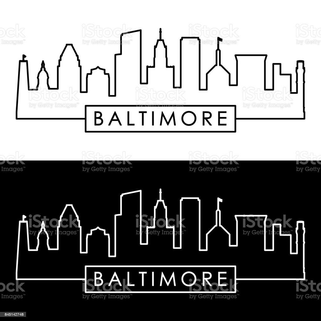 Baltimore skyline. Linear style. Editable vector file. vector art illustration