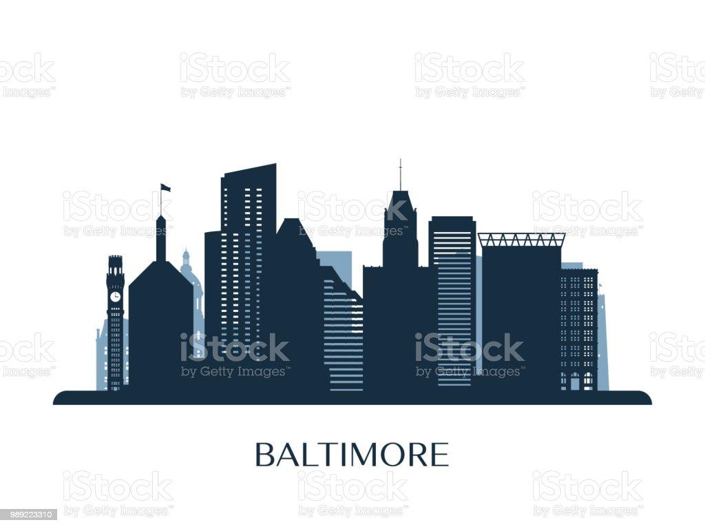 Baltimore skyline, monochrome silhouette. Vector illustration. vector art illustration