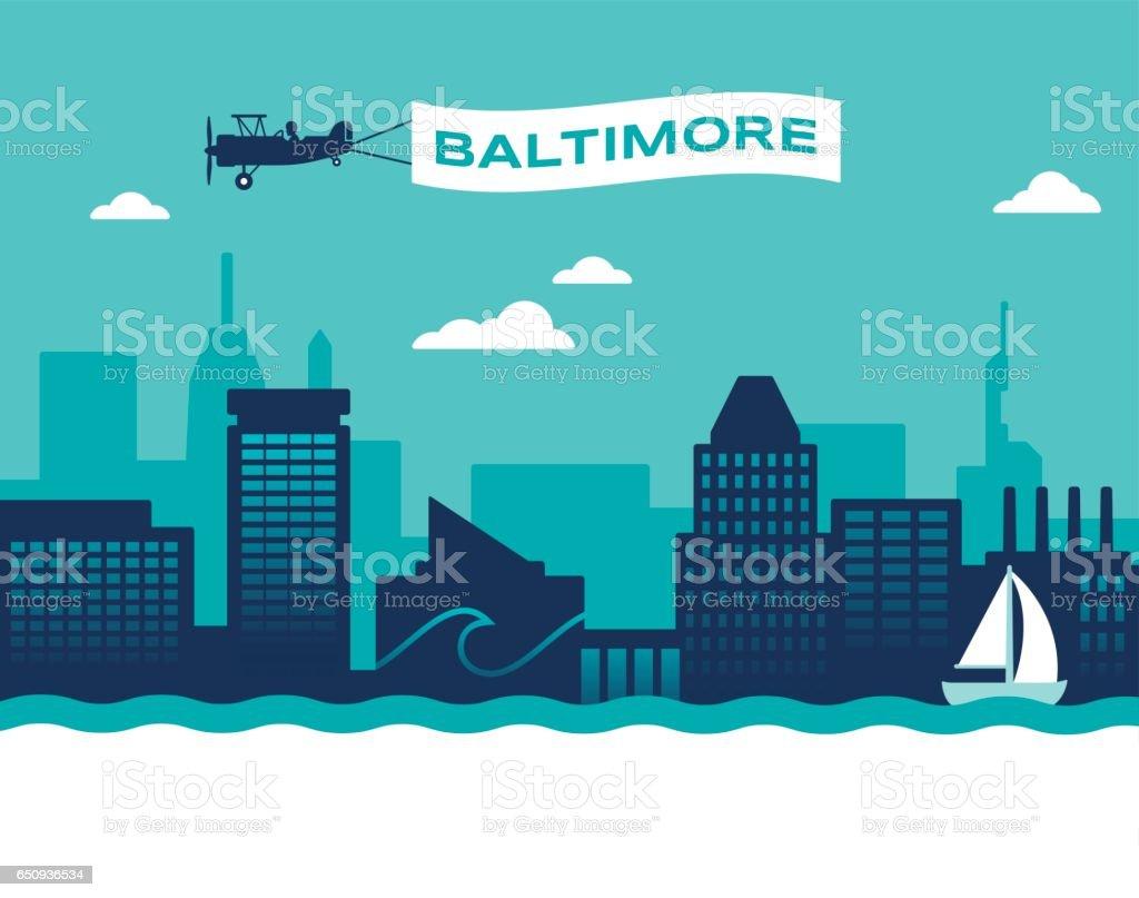 Baltimore Skyline vector art illustration