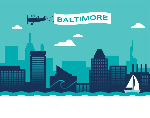 Baltimore Skyline Baltimore Maryland USA skyline concept illustration. inner harbor baltimore stock illustrations