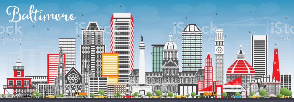 Baltimore Skyline with Gray Buildings and Blue Sky. vector art illustration