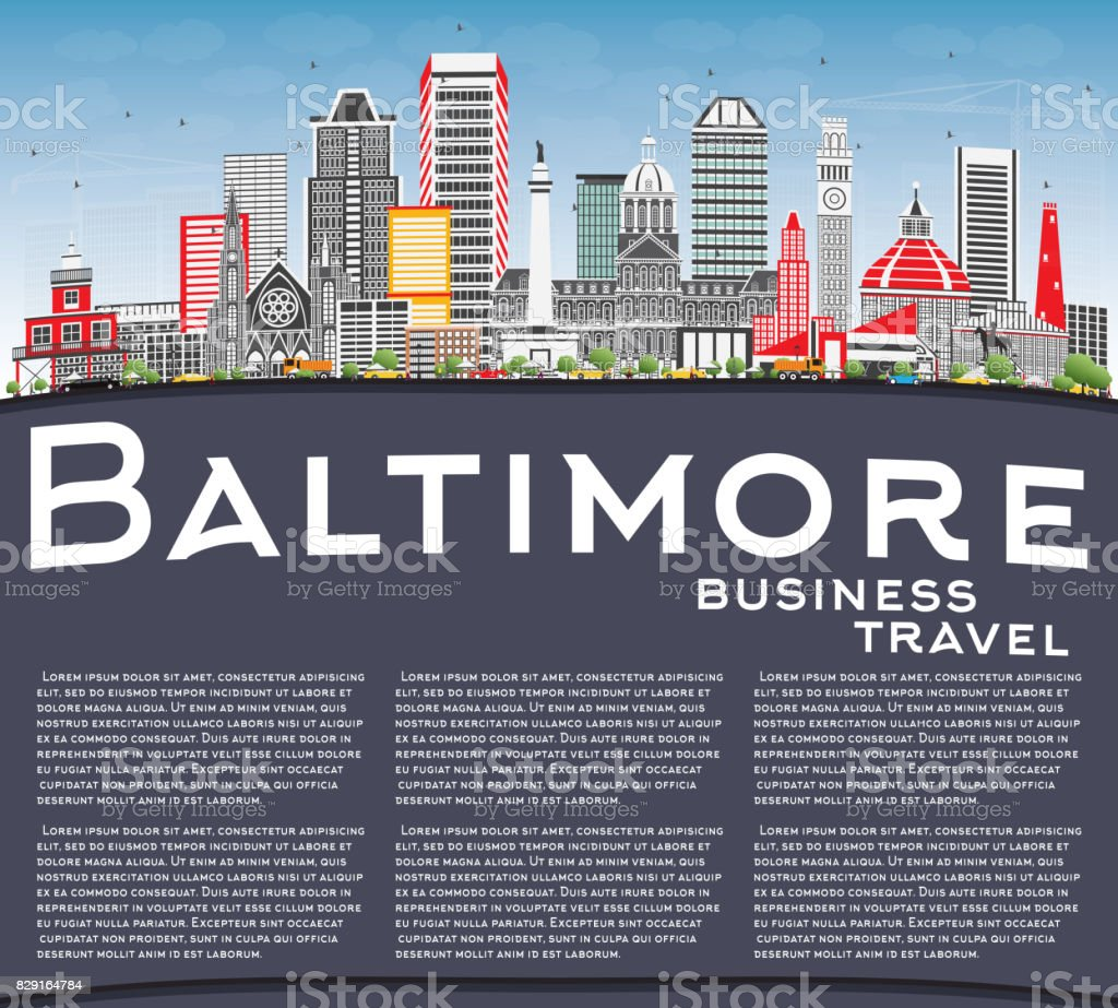 Baltimore Skyline with Gray Buildings, Blue Sky and Copy Space. vector art illustration