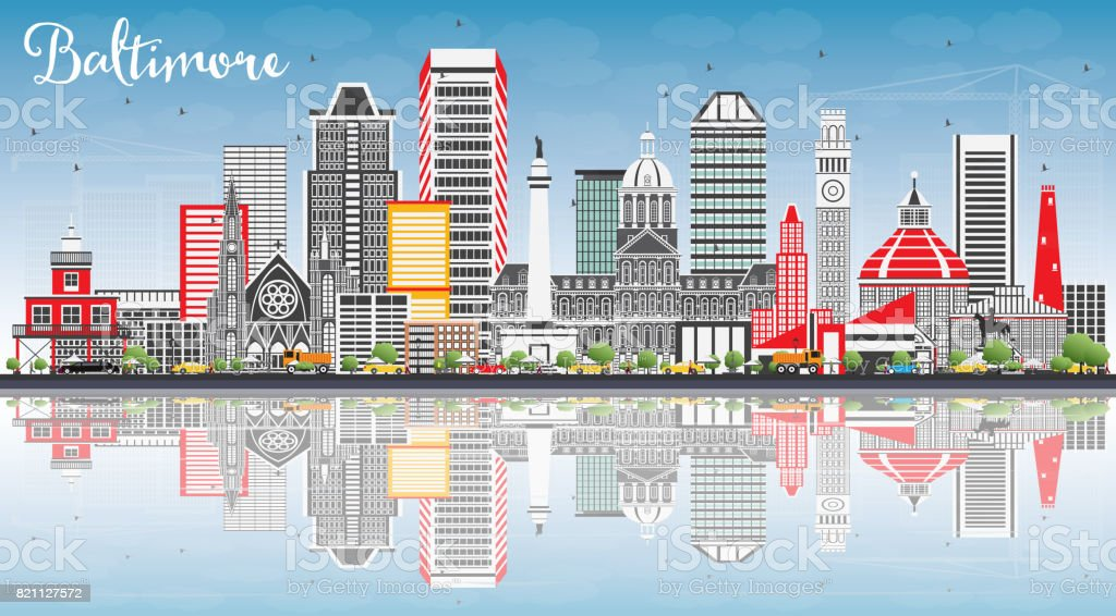 Baltimore Skyline with Gray Buildings, Blue Sky and Reflections. vector art illustration