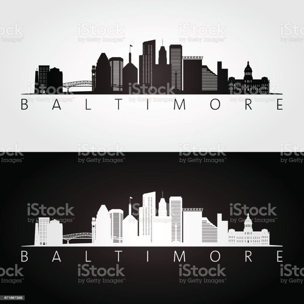Baltimore USA skyline and landmarks silhouette vector art illustration