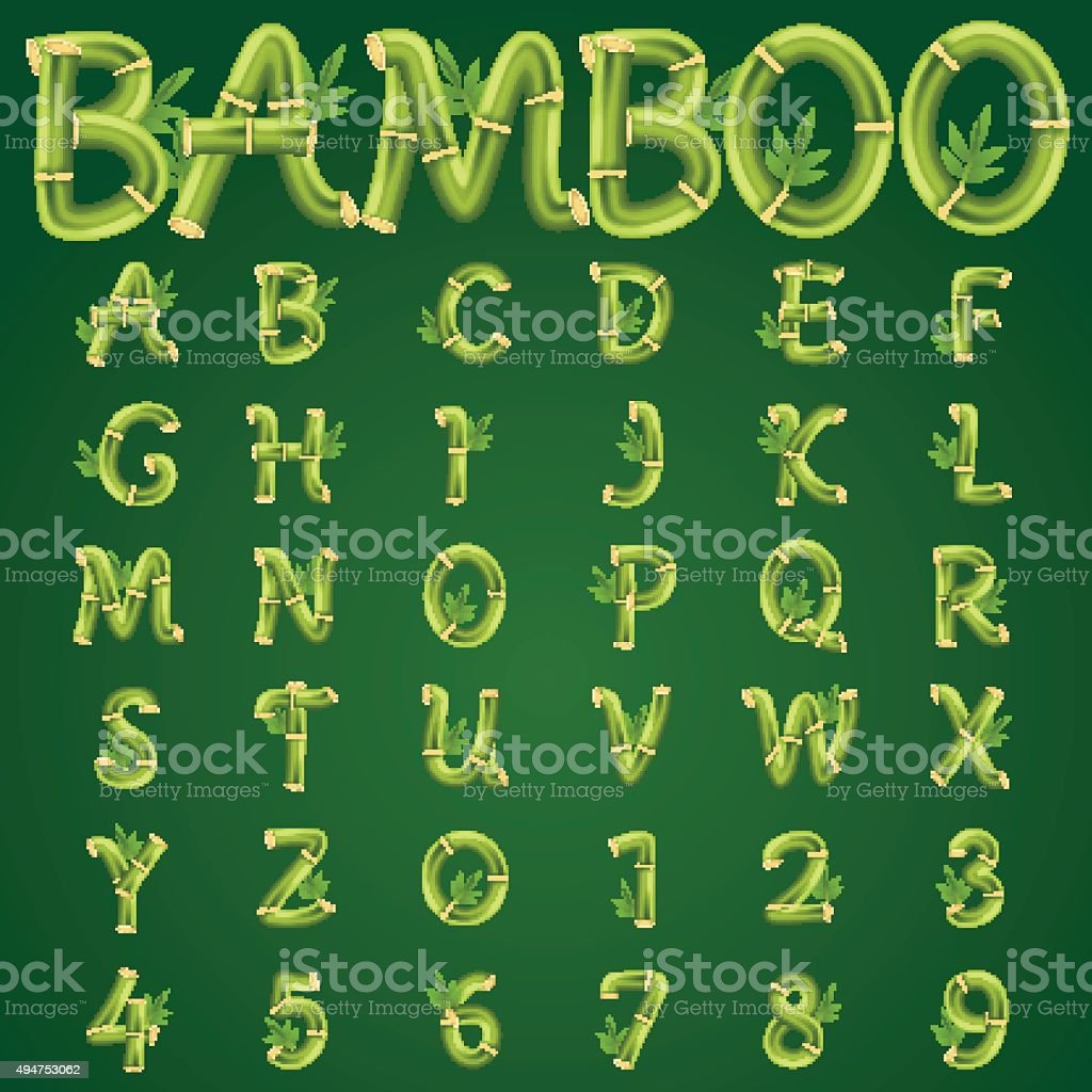 Bamboo alphabet vector art illustration