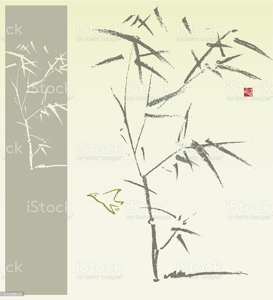 Bamboo and Bird vector art illustration