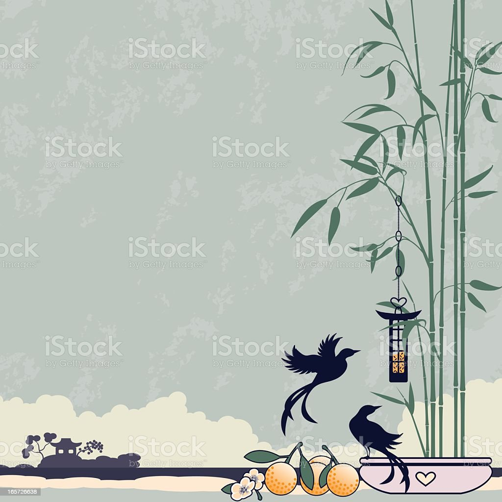 Bamboo and Birds vector art illustration