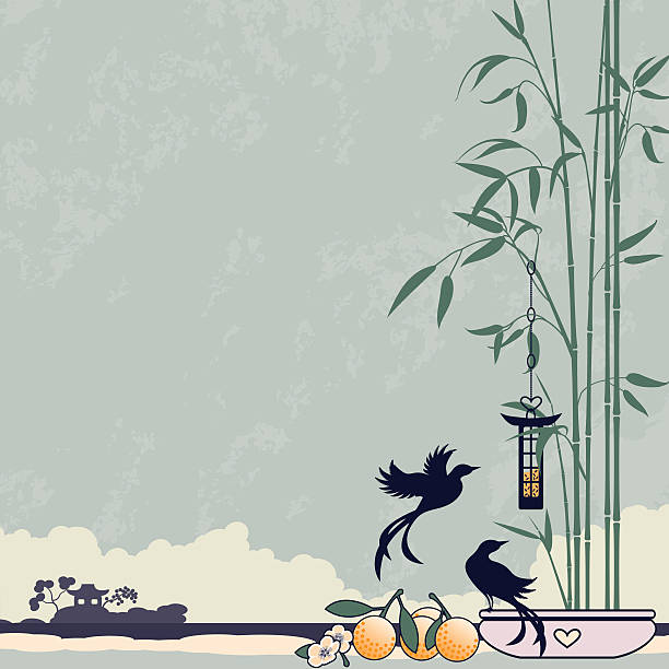 Bamboo and Birds vector art illustration