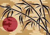Illustration of a bamboo and the sun in the sky with clouds.
