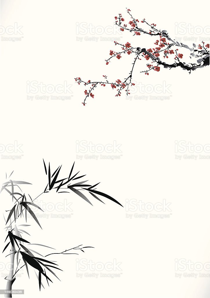 Bamboo and winter sweet royalty-free stock vector art