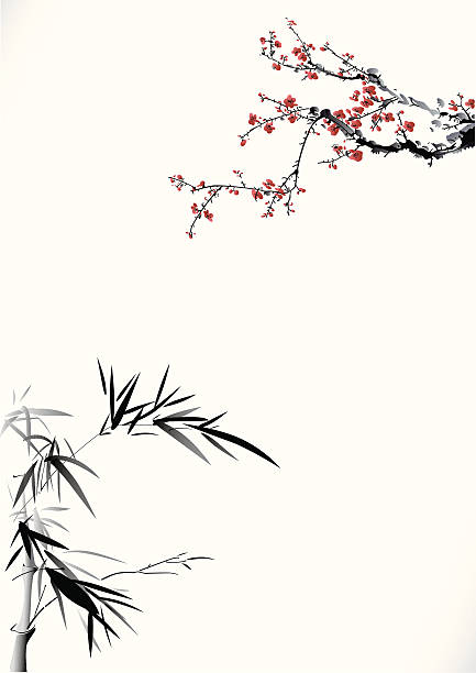 Bamboo and winter sweet Bamboo and winter sweet plum blossom stock illustrations