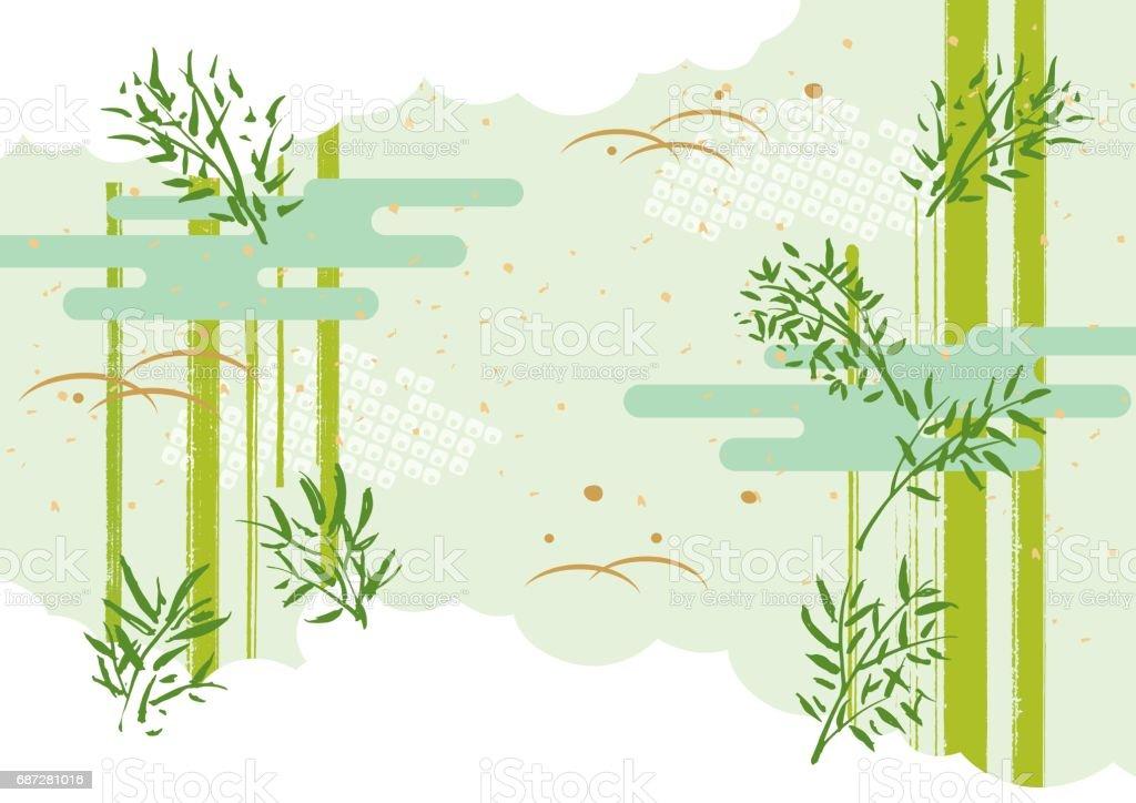 バンブー 笹 vector art illustration