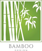White Bamboo tree silhouettes on green background vector icon. Business sign template for modern design, beauty boutique, yoga, spa, cosmetics labeling, botanical garden, art gallery. Sample text